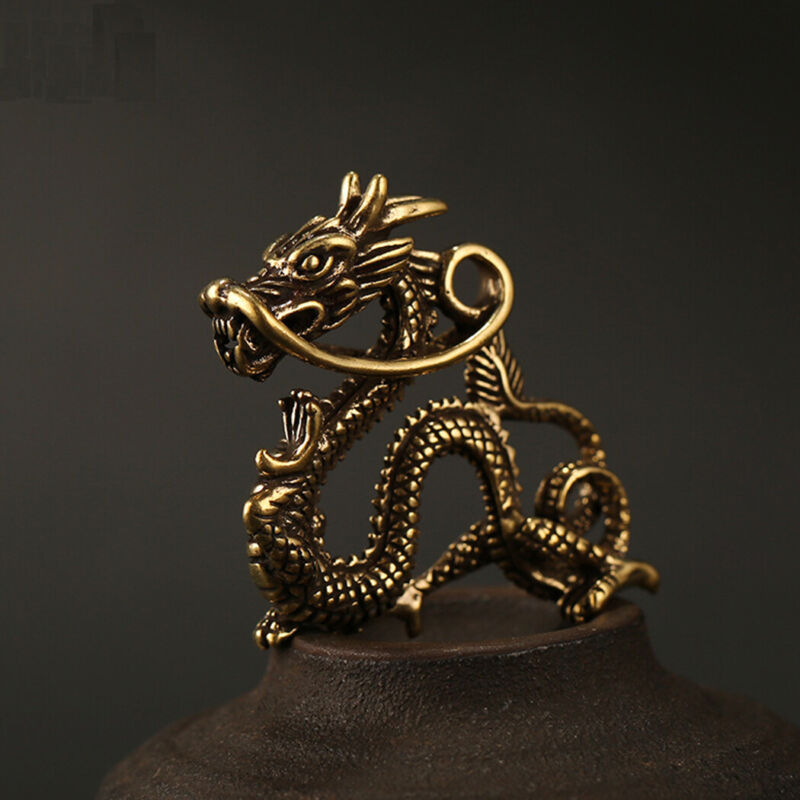 Chinese Dragon Brass Figurines Keychain Pendant Rings Home Car Feng Shui Decor