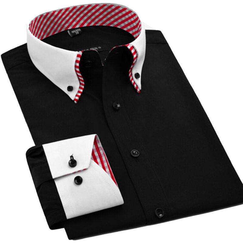 Luxury Mens Casual Double Collar Slim Fit Formal Shirt Italian Design DC02