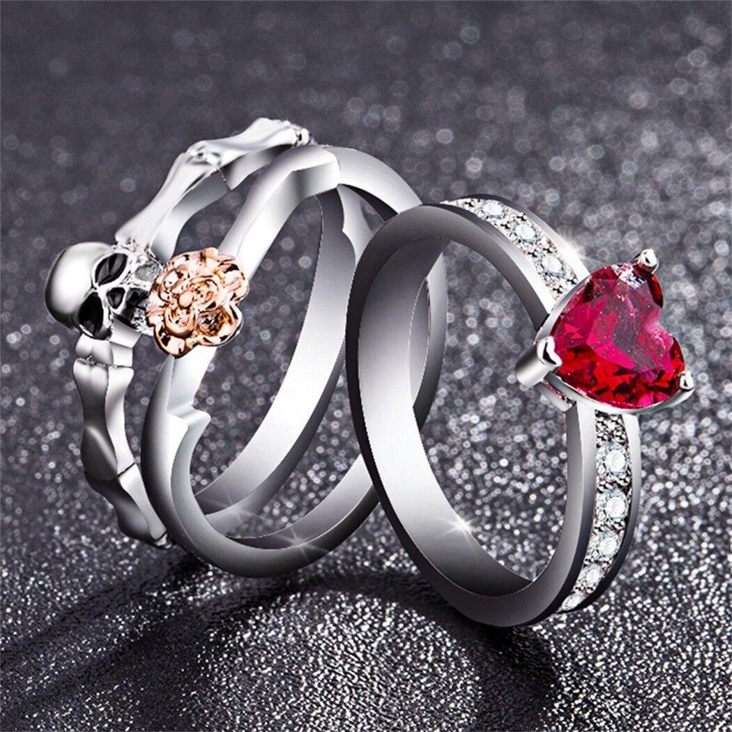 Chic White Red Sapphire Skull Ring Set Women Wedding Engagem