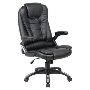 RIO BLACK LUXURY RECLINING EXECUTIVE OFFICE DESK CHAIR FAUX LEATHER HIGH BACK