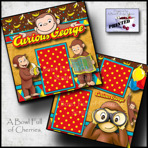 CURIOUS GEORGE ~ preschool toddler 2 premade scrapbook pages printed Cherry 0183