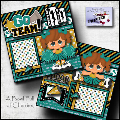 CHEERLEADER ~ girl 2 premade scrapbook pages paper printed layout sports CHERRY