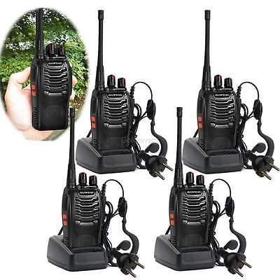 4er Baofeng BF-888S+Headset UHF CTCSS/DCS/VOX Hand-Funkgerät Walkie-Talkie DHL