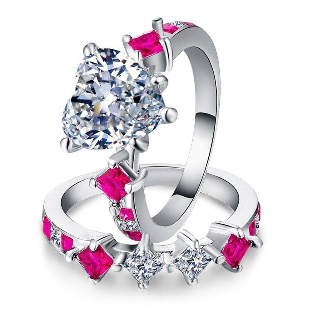 Women Silver Blue Sapphire Ring Set Fashion Wedding Bridal W
