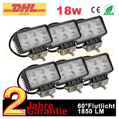 6x18W LED Arbeitsscheinwerfer Anhänger Traktor Radlader 12V Scheinwerfer Leuchte