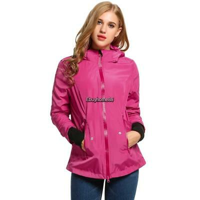New Women Casual Long Sleeve Hooded Solid Detachable Hat Waterproof (Hooded Long Sleeve Hat)