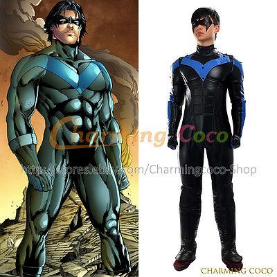 Batman: Arkham City Nightwing Cosplay Costume Adult Jumpsuit Outfit Uniform Cool - Cool Batman Costumes