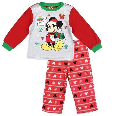 Boys Toddler Pajamas (Disney Mickey Mouse Toddler Boys Christmas Fleece 2 pc)