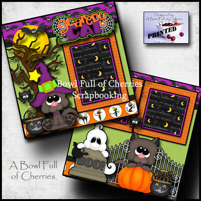 SCAREDY CAT ~  halloween 2 premade scrapbook pages paper piecing CHERRY #0037