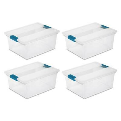 4) Sterilite 19658604 Deep File Clip Box Clear Storage Tote