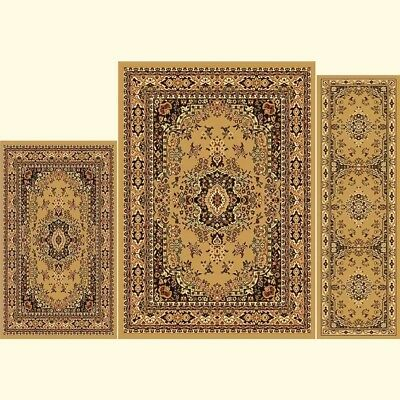 Beige Oriental Floor Mat (Throw Rugs Brown 3 Piece Set Living Room Area Floor Mat Runner Scatter)