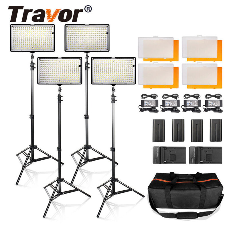 4PCS Travor Pro Dimmable 240 LED Video Panel Light Camera Studio W Stand TL-240S