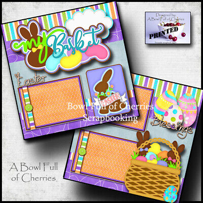 EASTER BASKET  2 premade scrapbook pages paper piecing layout 12X12 CHERRY #0059