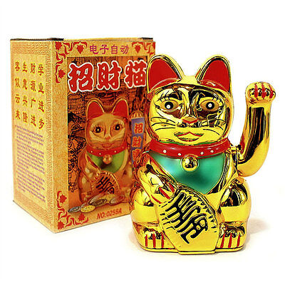 "LUCKY BECKONING CAT 5"" Gold Wealth Waving Kitty Maneki Neko Feng Shui Japanese"
