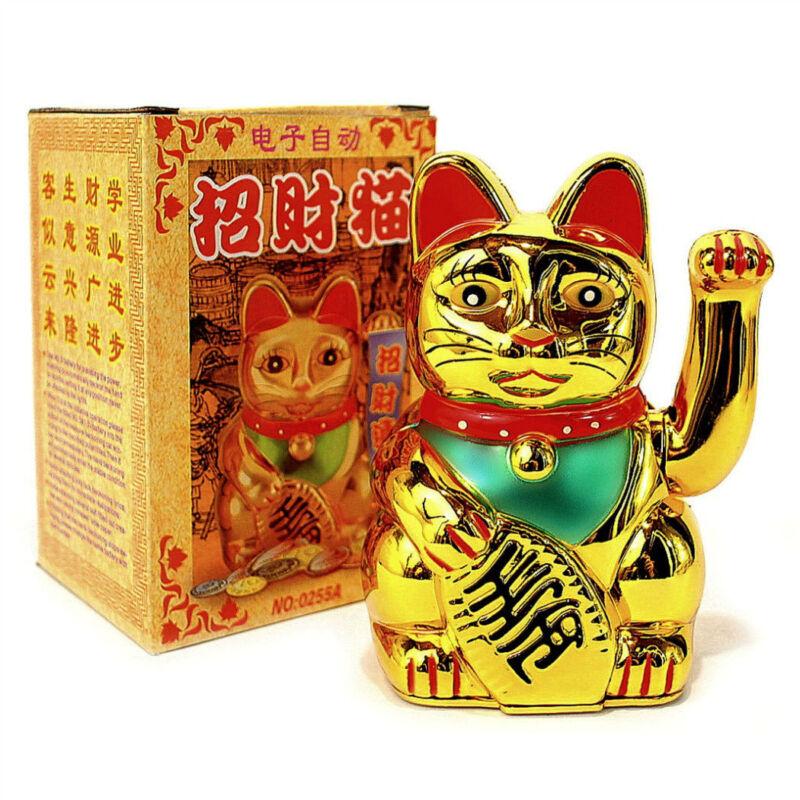 "LUCKY BECKONING CAT 5"" Gold Wealth Waving Kitty Maneki Neko Feng Shui Japanese"