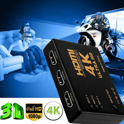 Splitter Tv Hub (4K*2K 3in 1out HDMI Switch Hub Splitter TV Switcher Adapter Ultra HD for HDTV PC )