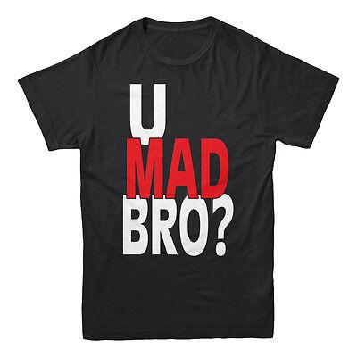 U Mad Bro Bruh Red White Text Saying Dank Meme Humor College Funny Men