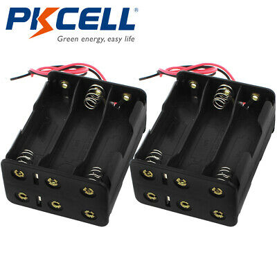 2pcs Dual-side Battery Holder 6-aa Cells Case Box With Two Leads For Aa Battery