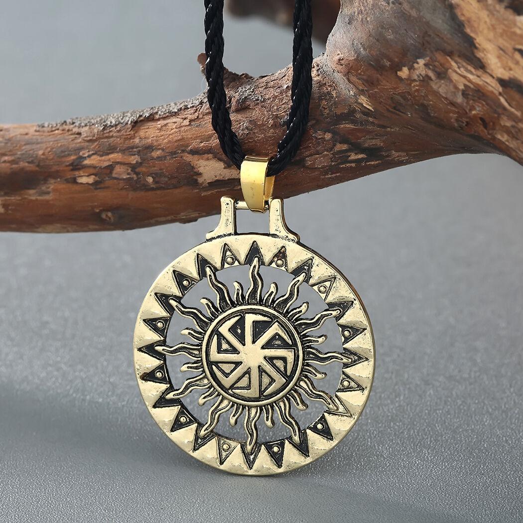 Men Viking Pendant Necklace Sun Symbol Slavic Wheel Nordic Amulet Pagan Jewelry 8