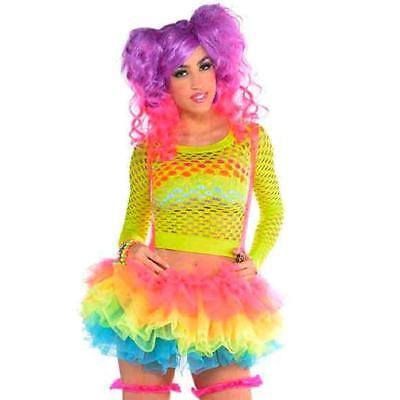 Electric Party Tutu Suspenders Neon Fancy Dress Up Halloween Costume Accessory (Electric Costumes)
