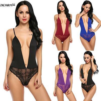 Frauen Sexy Deep V Neck Dessous Bodysuit Backless Lace Patchwork Teddy zac 01 (Frauen Teddy)