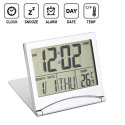 Smart Digital LCD Folding Travel Alarm Clock with Thermometer Calendar Timer Day