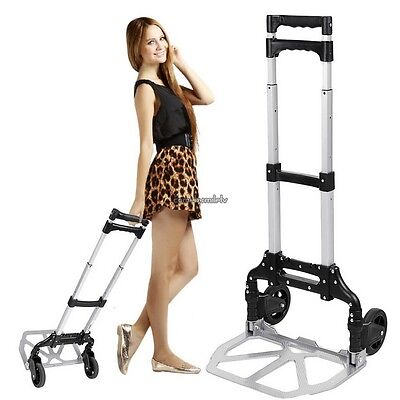 Portable Folding Hand Truck Dolly Luggage Carts Silver 150 Lbs Clsv02