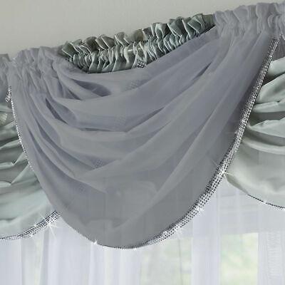 SILVER SPARKLES GLITTER TRIM GLITZY PALE GREY  VOILE NET CURTAIN BLING - Silver Glitter Curtains