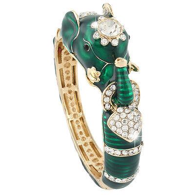 Animal Gold Bracelet - Elephant Animal Bangle Cuff Bracelet Emerald Green Enamel Gold GP Women Gift