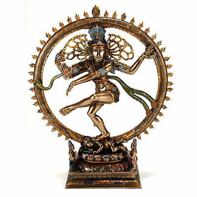 "DANCING SHIVA STATUE 10.5"" Nataraja Hindu God HIGH QUALITY Bronze Resin Indian"