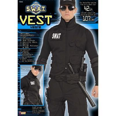SWAT Vest Police Officer Black Tactical Fancy Dress Halloween Costume Accessory - Mens Halloween Swat Vest