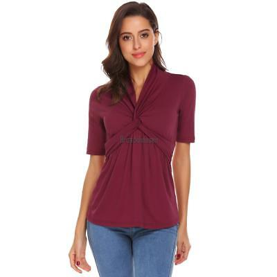 Twisted Knot Top - Women V-Neck Twist Knot Front Short Sleeve Casual T-Shirt Top BRCE
