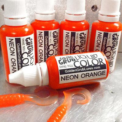 Dye Plastic (NEW 1 OZ. NEON ORANGE Liquid Color Dye Fishing Soft Plastic Bait plastisol)