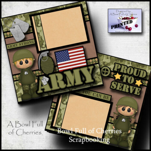 ARMY 2 premade scrapbook pages layout paper piecing veteran military Cherry 0079