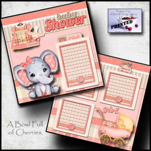 Baby Shower Girl ~ 2 premade scrapbook pages paper ~ printed layout cherry #0175