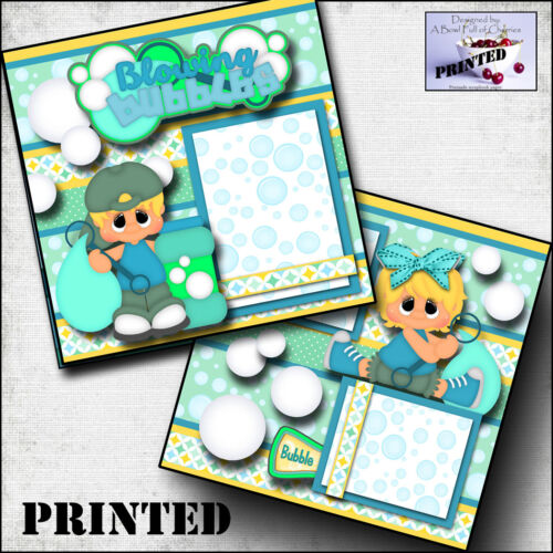 BLOWING BUBBLES boy girl PRINTED 2 premade scrapbook pages paper layout CHERRY