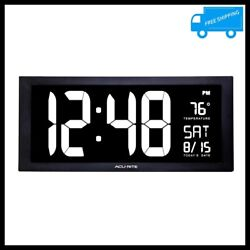 LED Digital Clock Wall Desk White Jumbo Display Thermometer Calendar Home Office