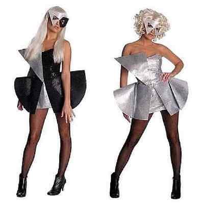 Lady Gaga Pop Rock Star Sequin Fancy Dress Halloween Teen Adult Costume 2 COLORS (Halloween Costume Rock Star)