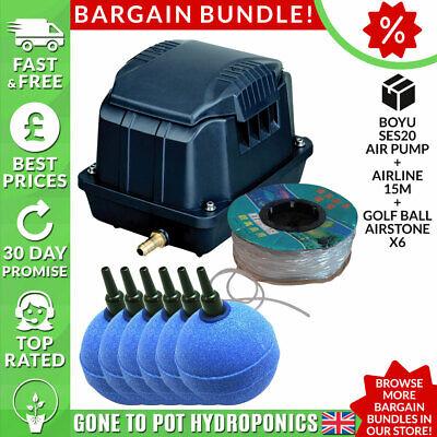 Boyu Air Pump Discount Bundle - SES20, Airline 15m, Golf Ball Airstone x6