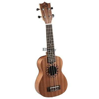 "21"" Soprano Ukulele Uke 4 String Hawaiian Guitar 15 Frets Musical Instrument New"