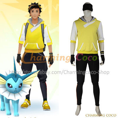 Pokémon GO Game Cosplay Costume Halloween Male Yellow Uniform Outfits For Cos - Halloween Costumes For Males