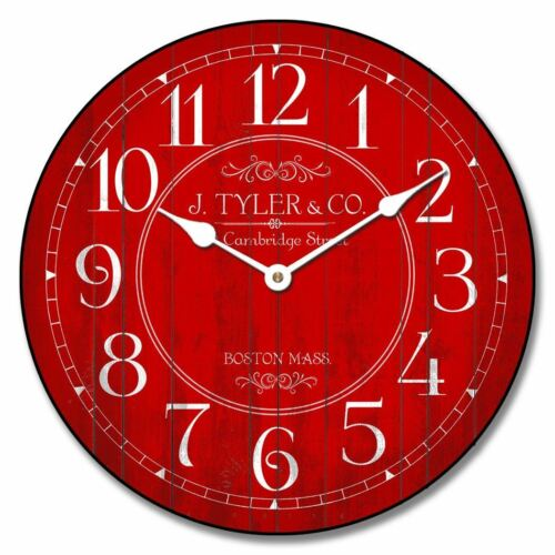 Galway Red Wall Clock Ultra Quiet Non ticking  Battery Operated