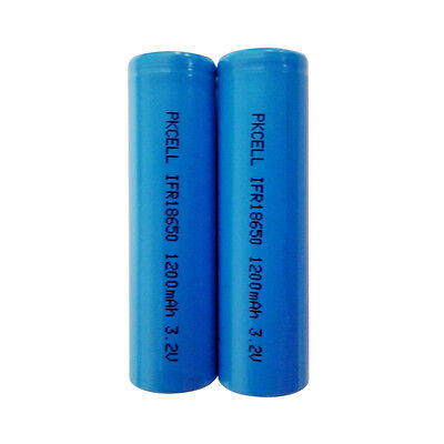 2PCS IFR18650 3.2V 1200mAh LiFePO4 Rechargeable Battery For High Temp Emergency
