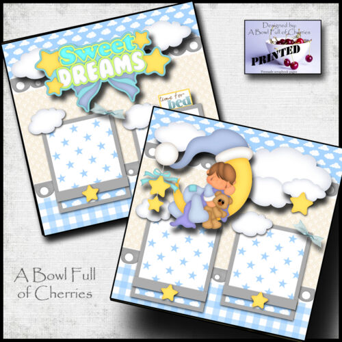 SWEET DREAMS ~ BABY BOY ~ PRINTED 2 premade scrapbook pages paper piecing CHERRY