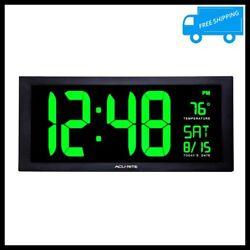 Digital LED Wall Clock Green Jumbo Display Calendar Thermometer Desk Home Office
