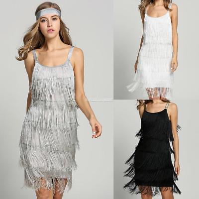 Fashion Women Straps Dress Tassels Glam Party Dress Gatsby Fringe Flapper ZZ 01 - Gatsby Attire For Women