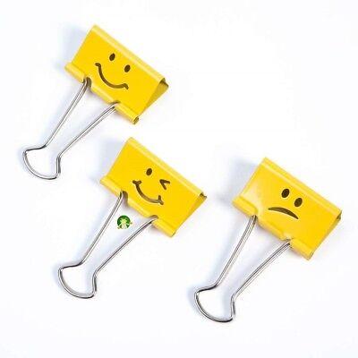 Rapesco Emoji 32mm Yellow Foldback/Bulldog Clips Paper Document  Metal Pack 20