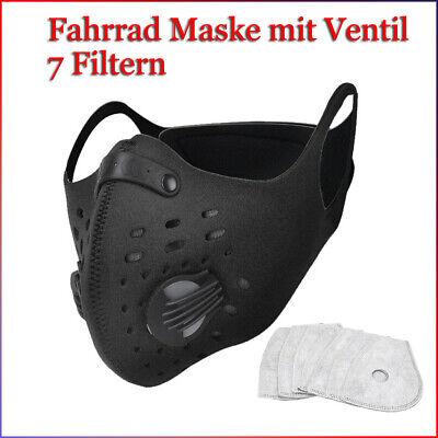 Mund Nasen Schutz Fahrrad Maske mit Ventil, 7 Filtern,gut für Fussball Fans