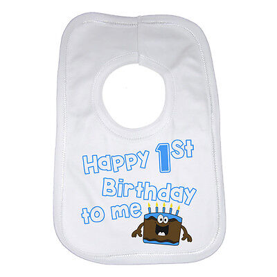 1st Birthday Gift Ideas For Boys (Happy First Birthday To Me Personalised Funny Baby Bib For Boys Great Gift)
