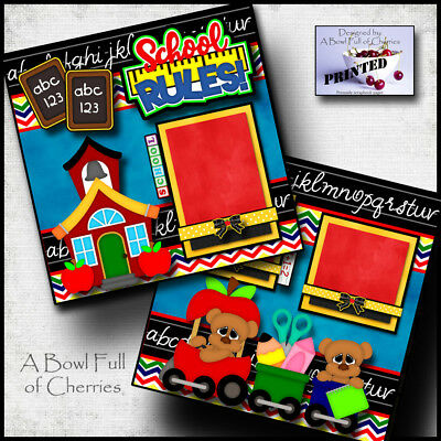 Cherry Scrapbooking Paper - SCHOOL RULES ~ 2 premade scrapbooking pages paper printed layout 4 album CHERRY